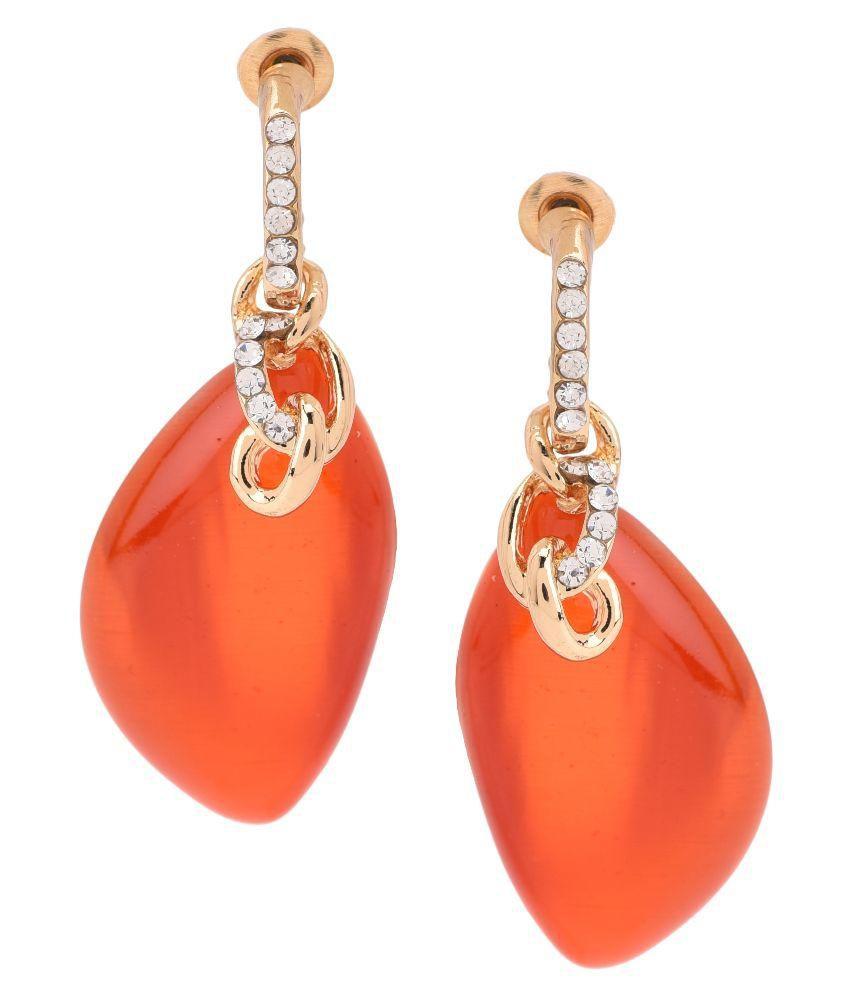 M4u Fashion Orange Alloy Party Wear Earrings