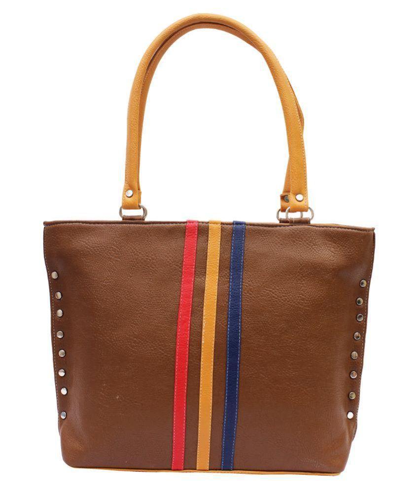 Deffassa Brown Faux Leather Shoulder Bag