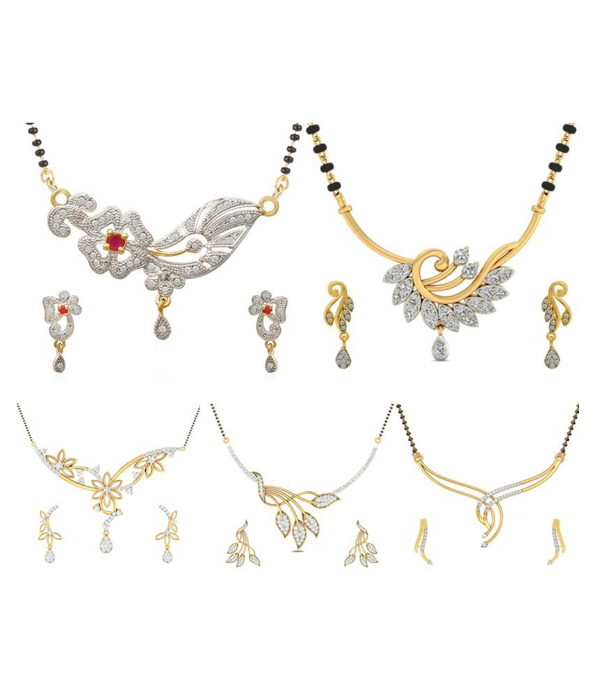 Jewels Galaxy Peacock & Geometric AAA American Diamond Mangalsutra Collection - ( Pack Of 5 Set)