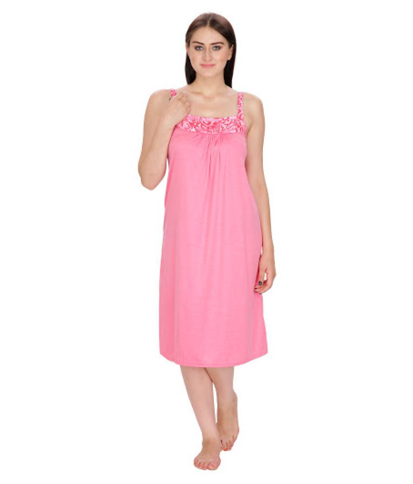 802d27cb3e Buy Klamotten Pink Poly Cotton Nighty & Night Gowns Online at Best Prices  in India - Snapdeal