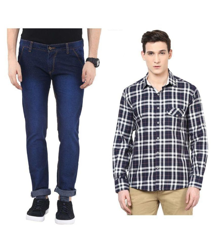 Urbano Fashion Combo of Blue Slim Fit Jeans and Shirt