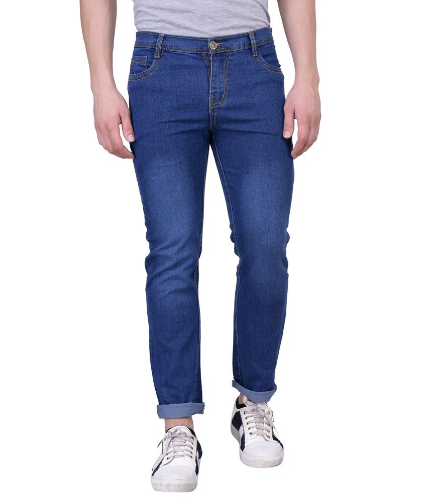 London Looks Blue Slim Fit Washed Jeans