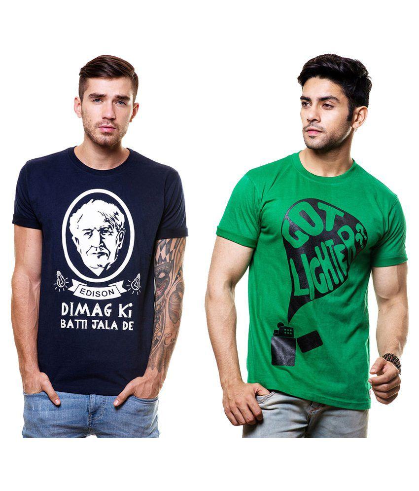 Hefty Multi Round T-Shirt Pack of 2