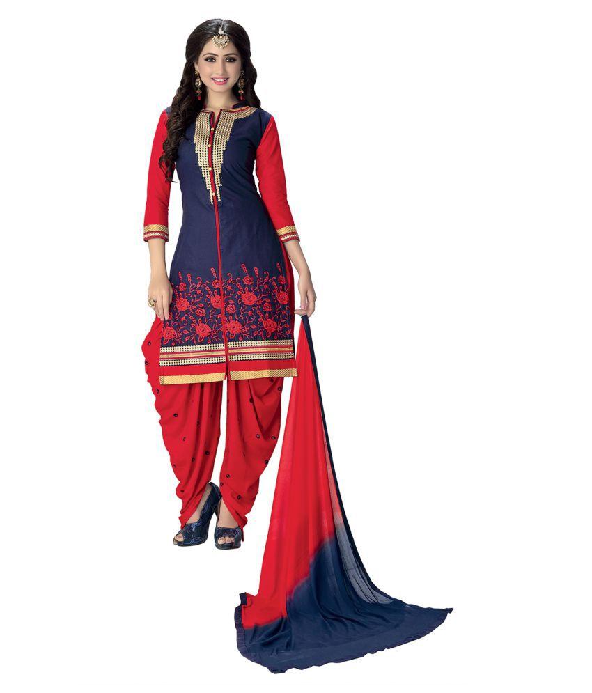 Justkartit Blue Nazneen Dress Material