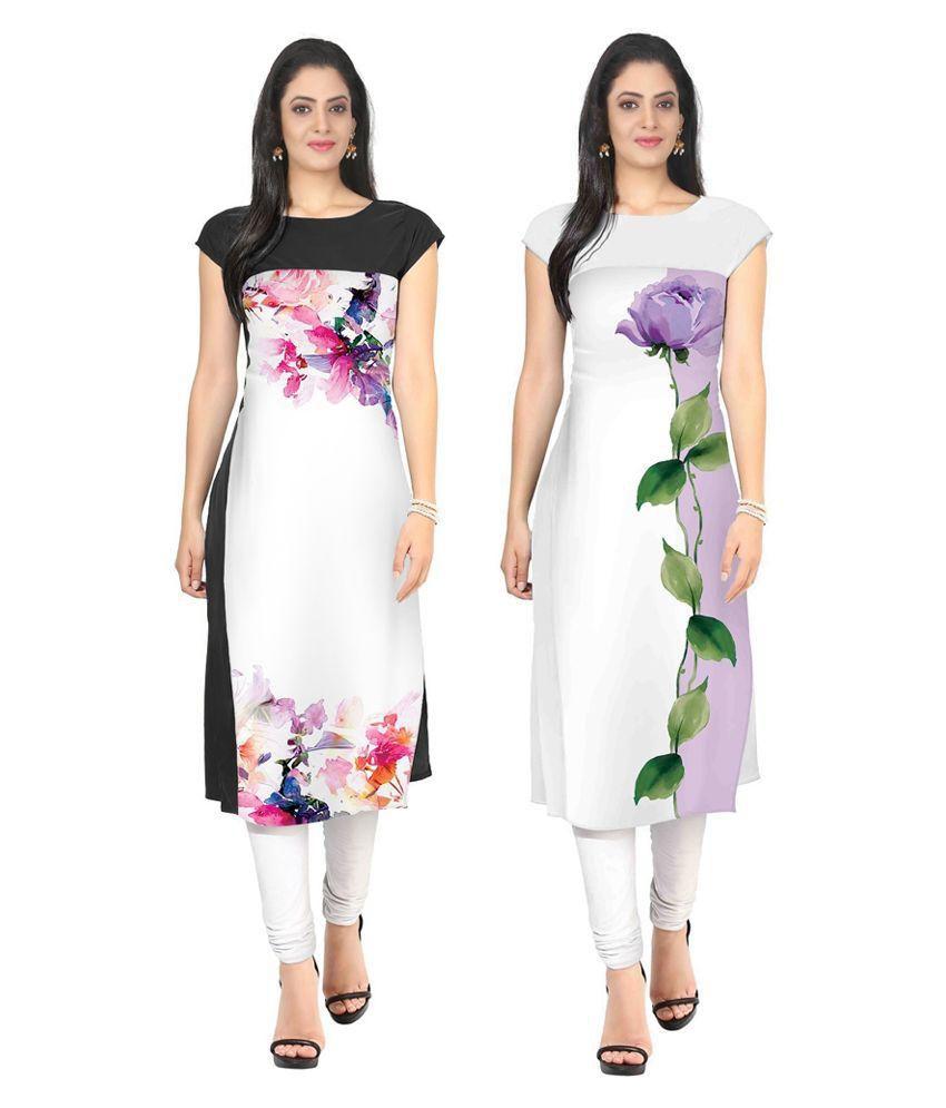 FashionUma Multicoloured Crepe Straight Kurti