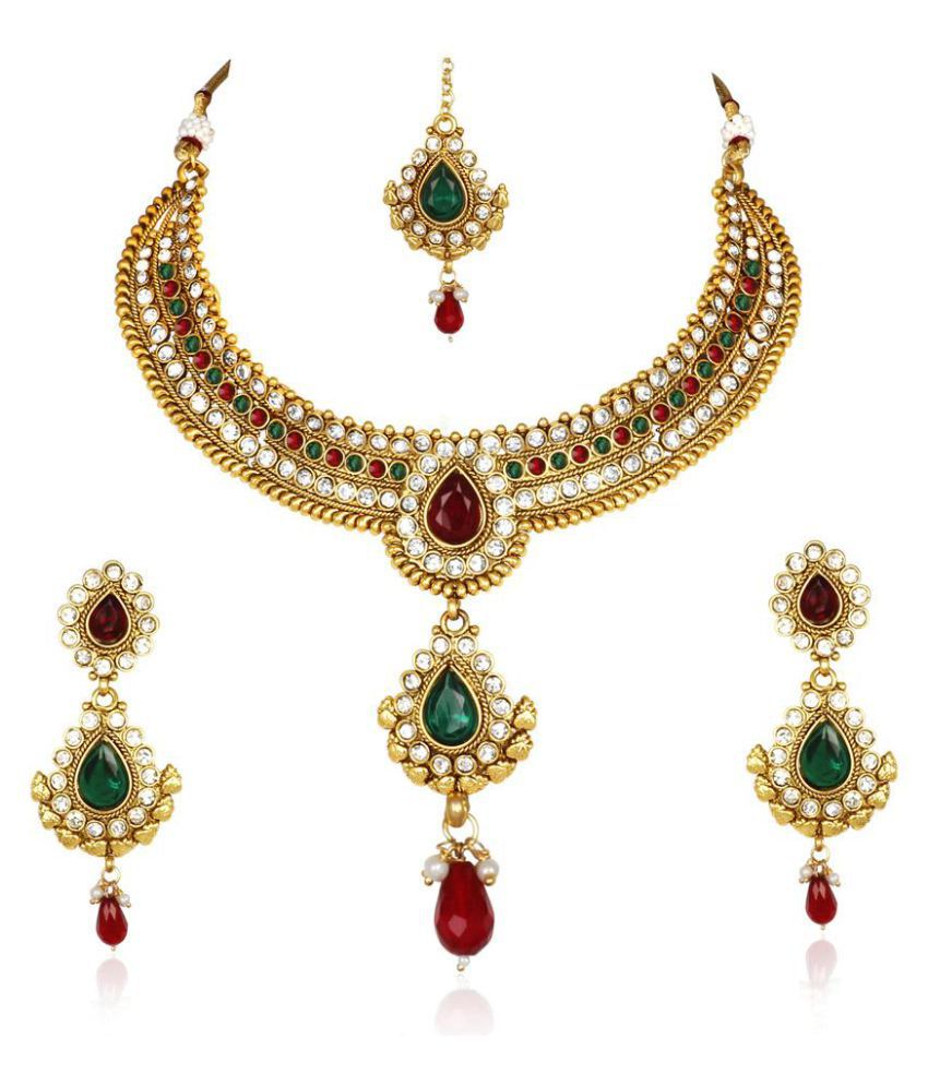 Kashvi Multicolor Necklace Set with Mangtika