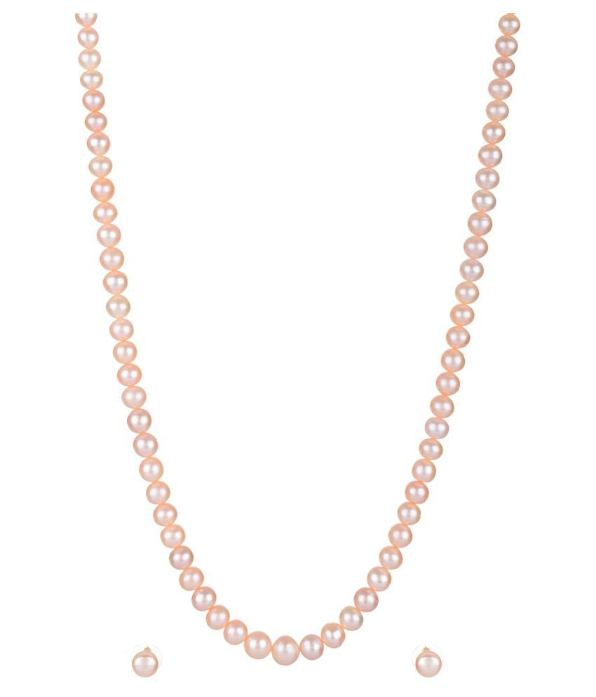 Mangatrai Pearls Peach Necklace Set