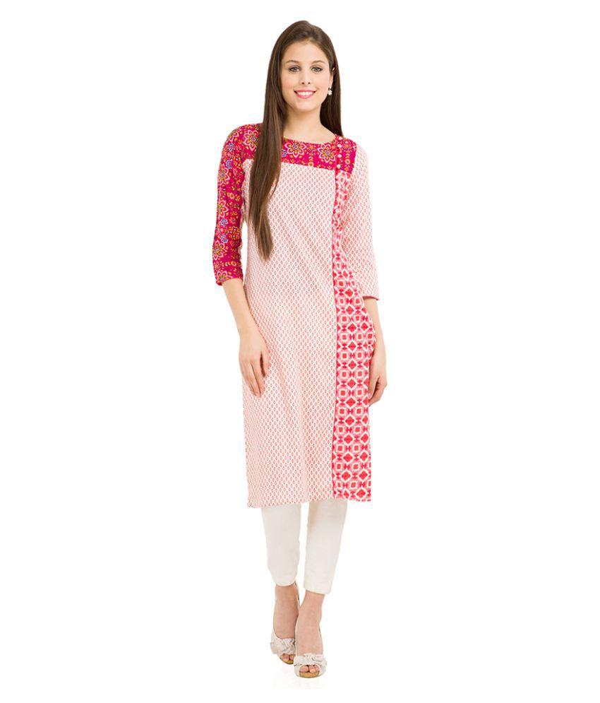 Vishudh Multicoloured Cotton Straight Kurti
