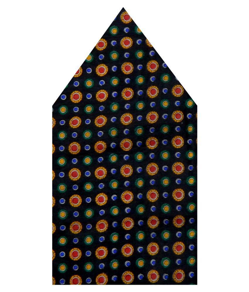 Navaksha Black Floral Silk Pocket Square