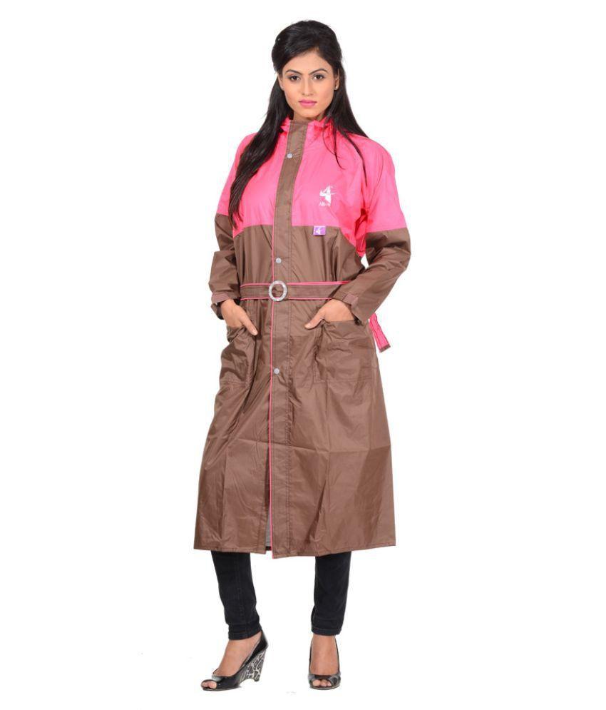 Allwin Brown Polyester Long Raincoat