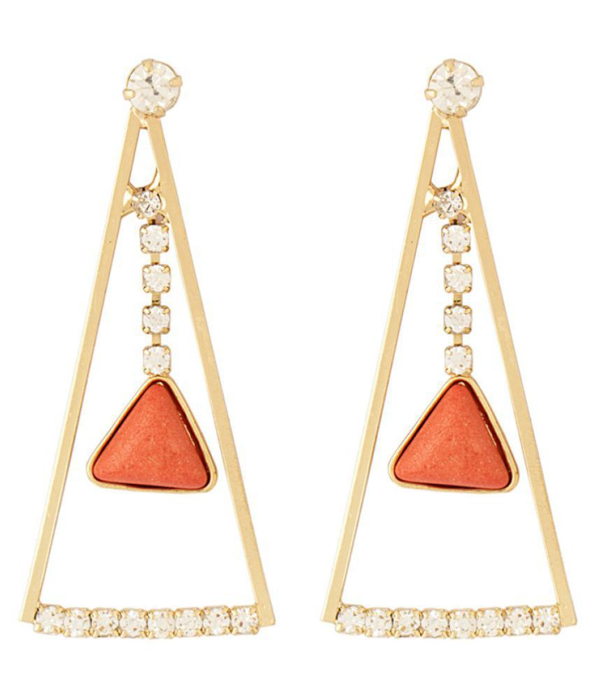 Pyramid CZ Earrings Graced With Coral Stone