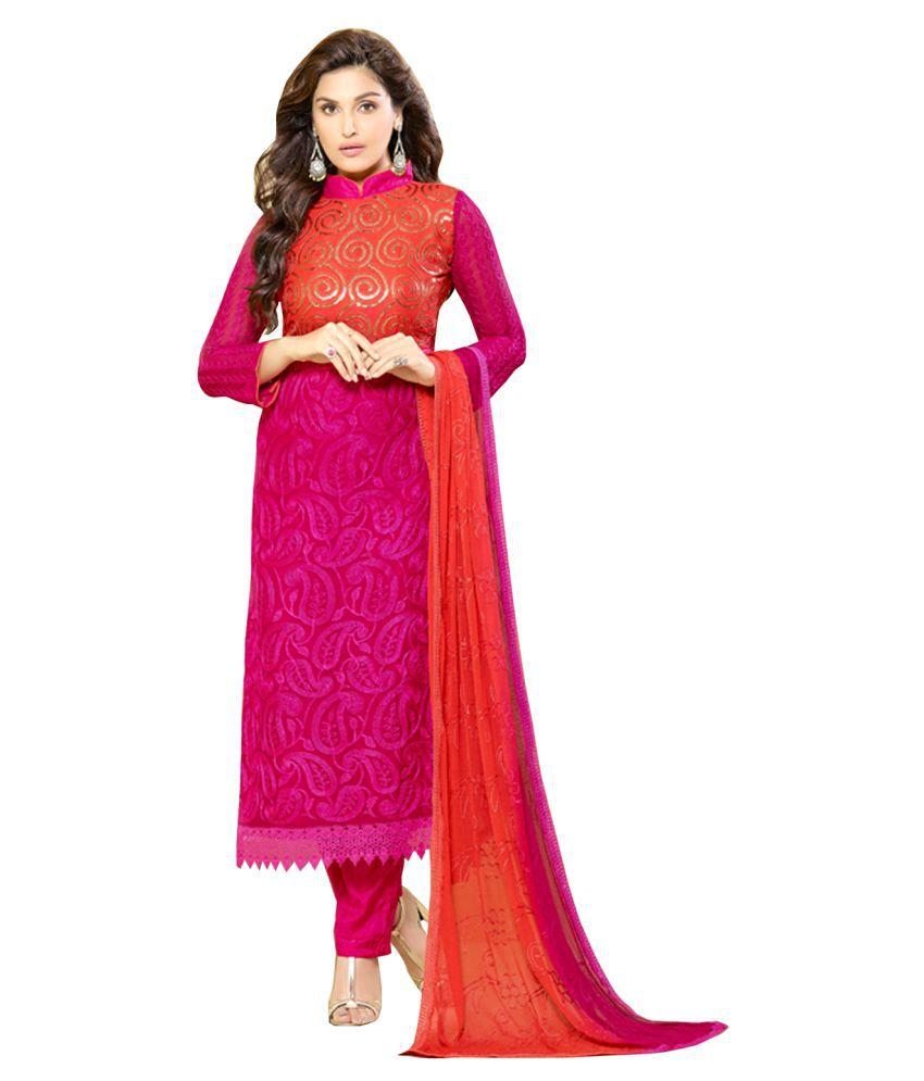 Vivan Fashion Pink Chiffon Dress Material