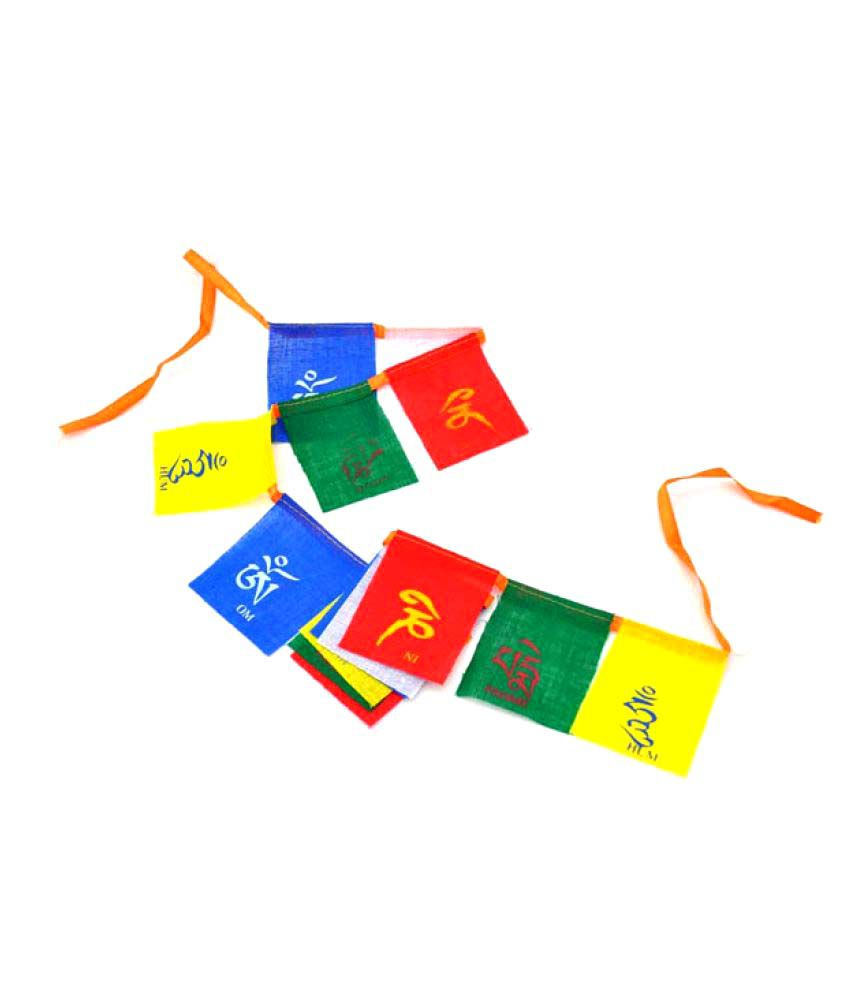 Takecare Multicolour Cotton Tibetan Buddhist Prayer Mantras Flag