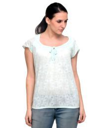 Attire By Kapsons Sea Green Lace Regular Tops