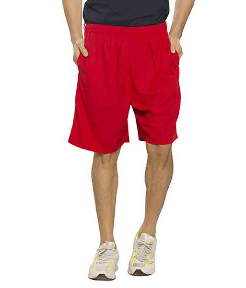 Bonaty Red Polyester Walking Shorts Single