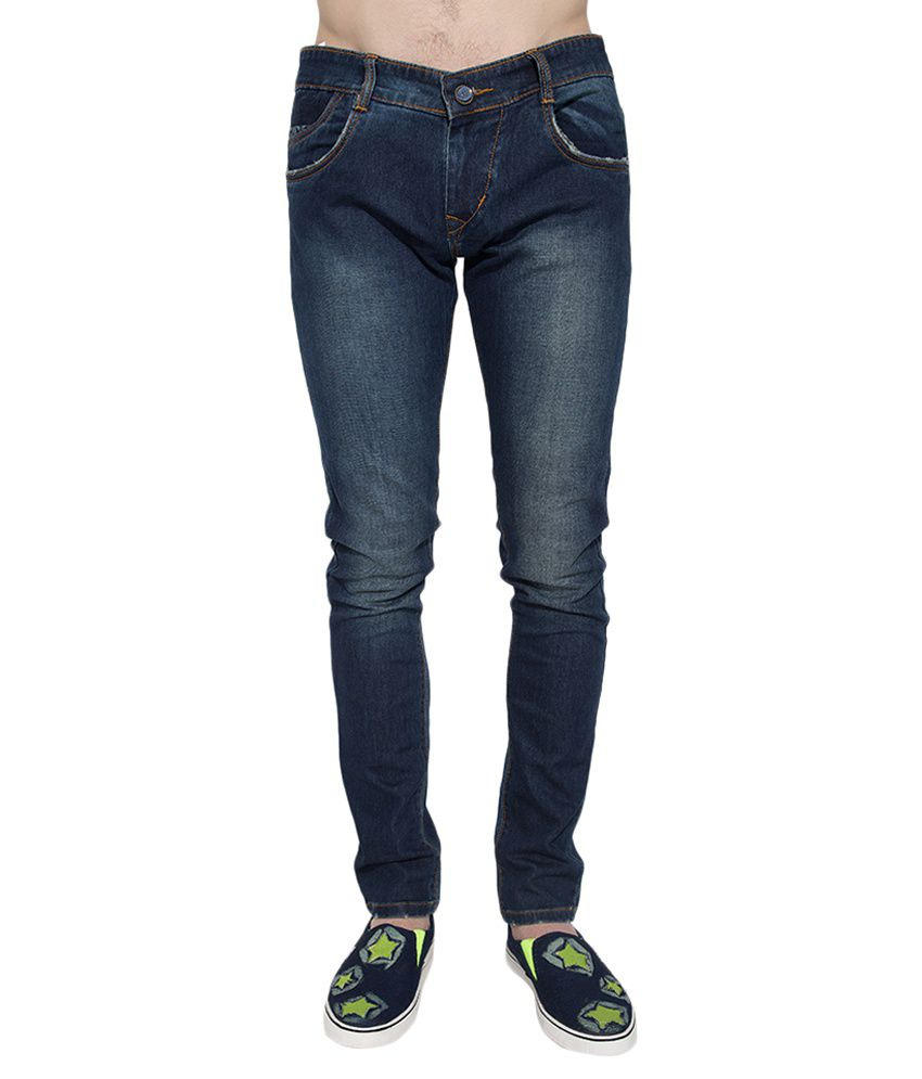 Go India Store Navy Blue Regular Fit Washed