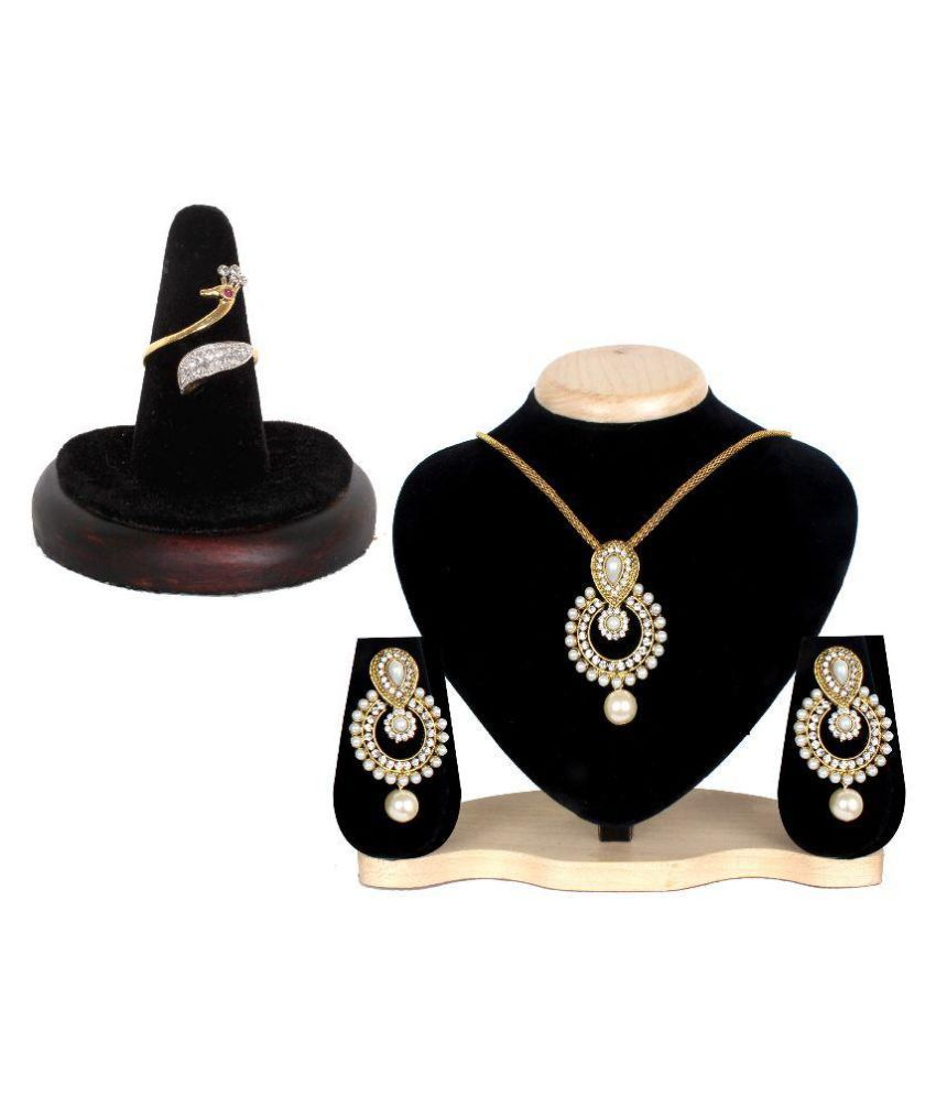Lady Touch Multicolor Necklace Set with Ring