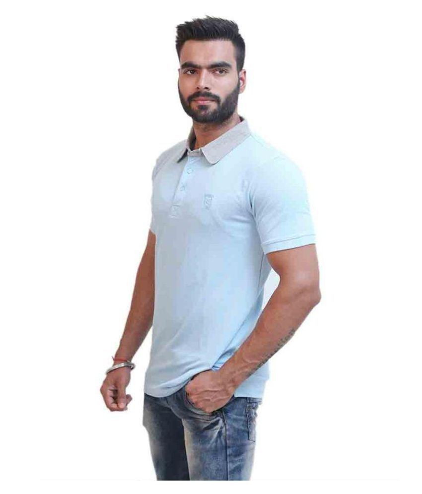 Moda Ind Blue Cotton Polo T-Shirt Single Pack