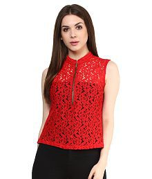 Mayra Red Net Regular Tops