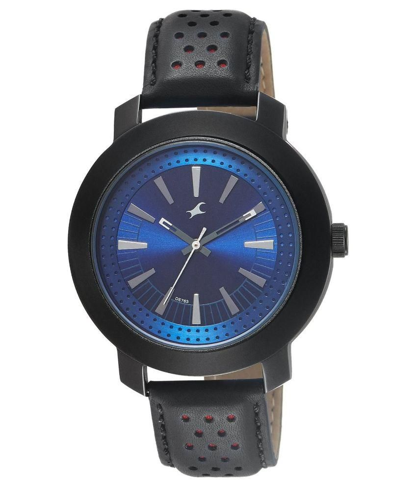 fastrack black leather analog watch buy fastrack black