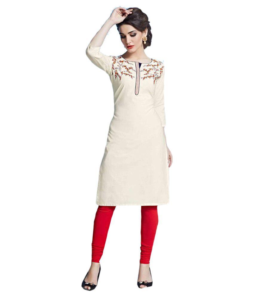 Jayanti's Off White Cotton Straight Kurti