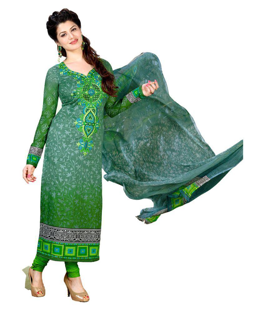 Tami Green Cotton Dress Material
