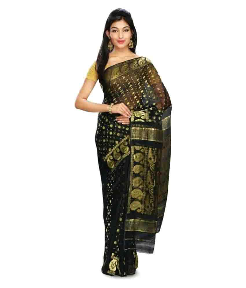 Emblazon Black Bengal Handloom Saree