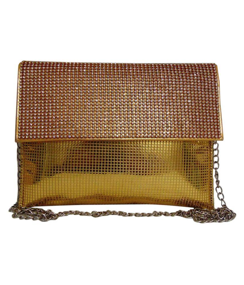Estoss Gold Faux Leather Box Clutch