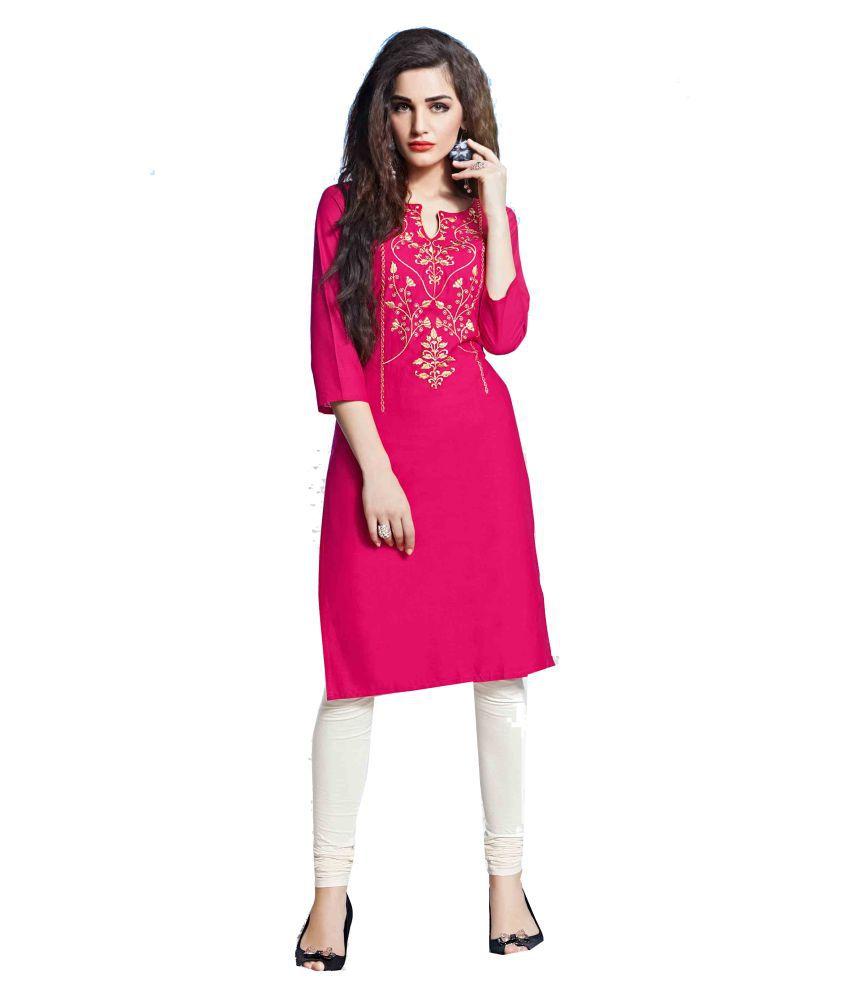 Jayanti's Pink Cotton Straight Kurti