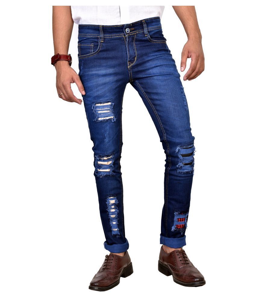 Anbow Blue Slim Distressed