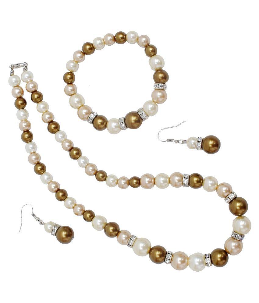 Lucky jewellery White Necklace set with Bracelet