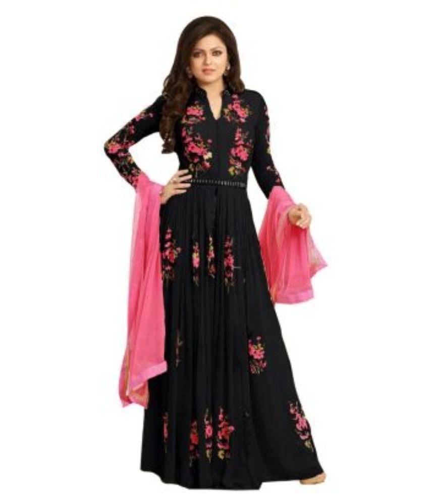 8098fa173eb Regalia Ethnic Black Georgette Anarkali Gown Semi-Stitched Suit - Buy Regalia  Ethnic Black Georgette Anarkali Gown Semi-Stitched Suit Online at Best  Prices ...