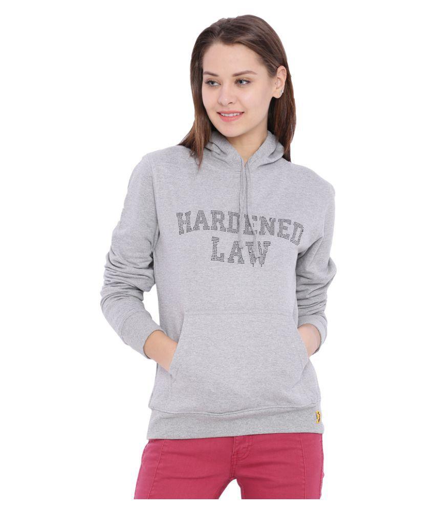 Campus Sutra Gray Cotton Sweatshirt