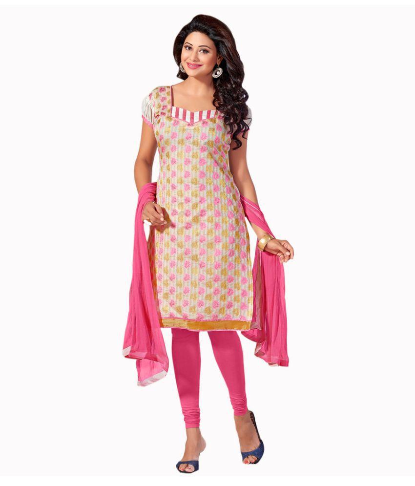 SnowFall White Banarasi Silk Dress Material