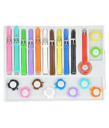 Opendeal Multicolour PU Analog Watch With 11 Strap For Girls