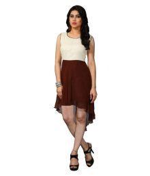 Lajree Designer Off White Georgette Asymmetric Dress