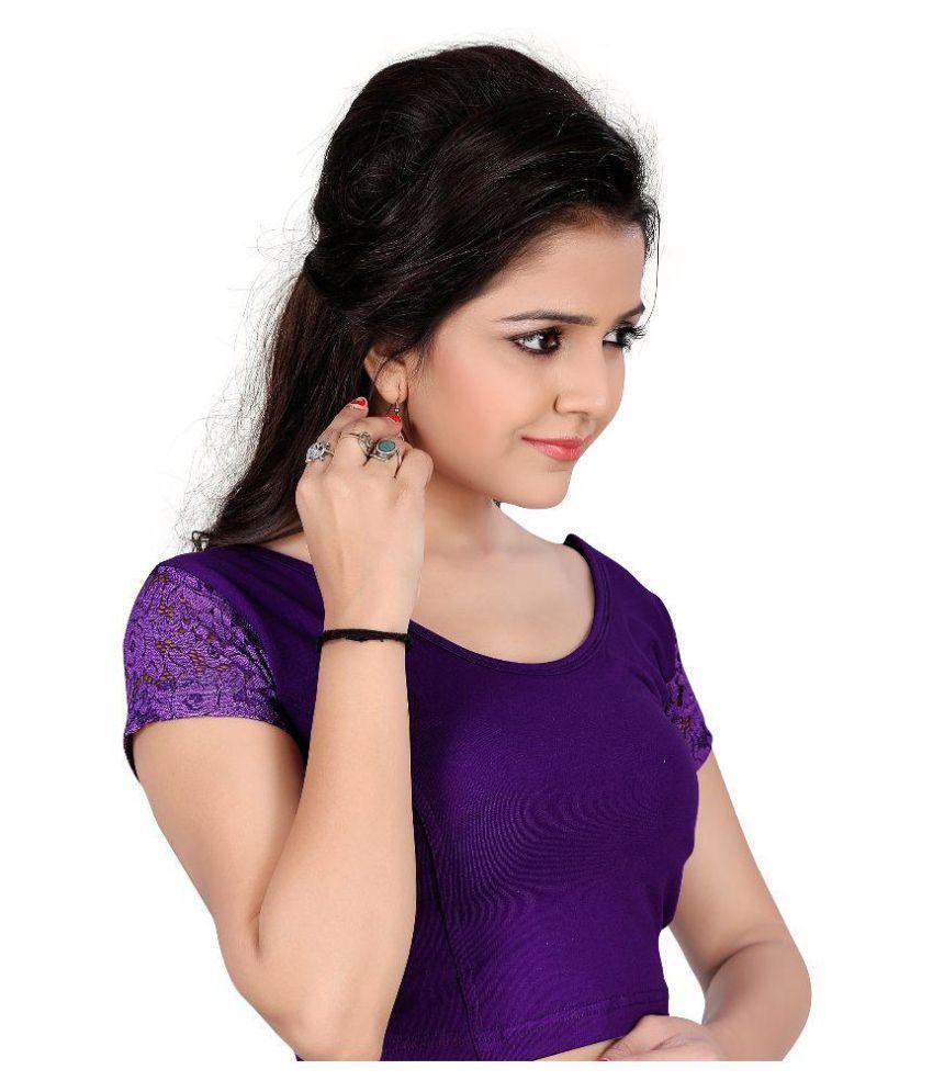 Fressia Fabrics Purple Round Shape Back Blouse