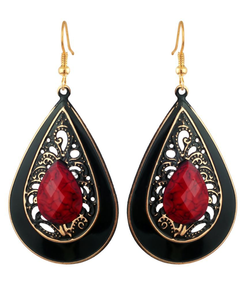 KRS Jewels Drop Shaped Hook Earring With Black Rhodium & Solid Red Stone