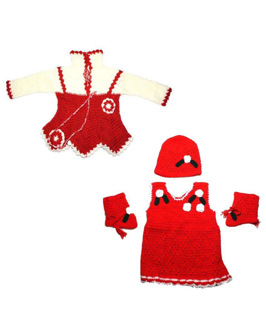 60408ed4f NancyDiva Handmade Woolen Girls Frock And Frock With socks and cap ...
