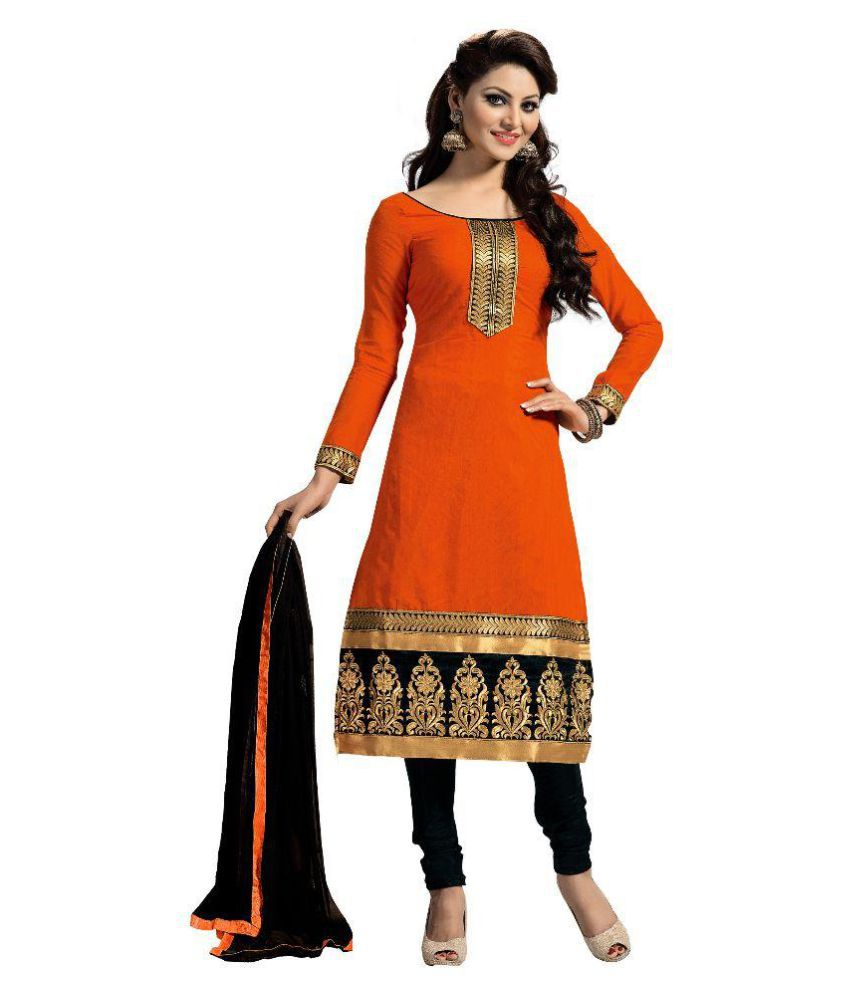 Nilkanth Enterprise Orange Chanderi Dress Material