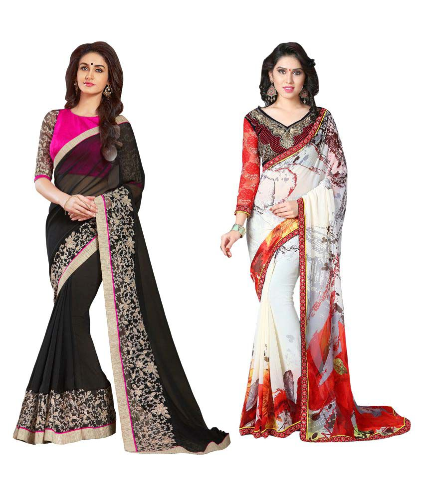 Women Icon Multicoloured Georgette Saree Combos