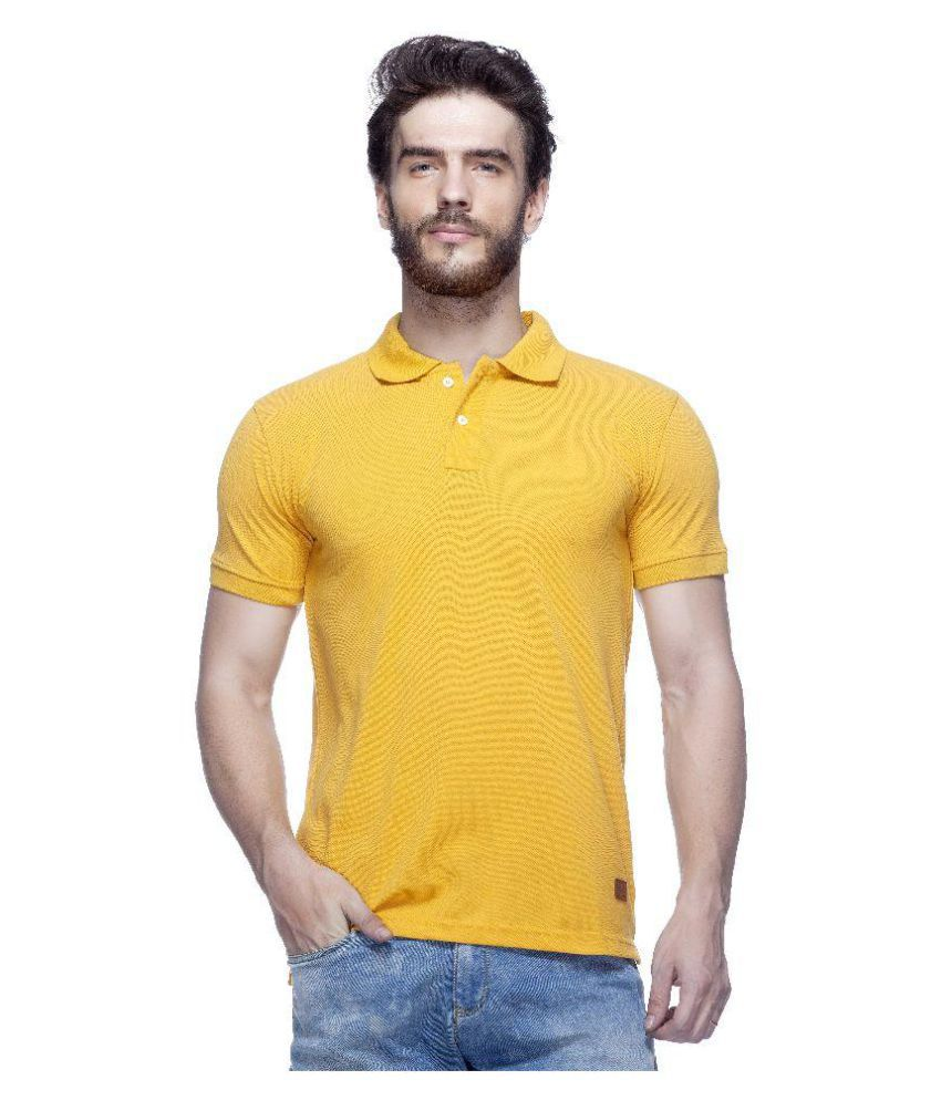 Tinted Yellow Cotton Blend Polo T-Shirt Single Pack