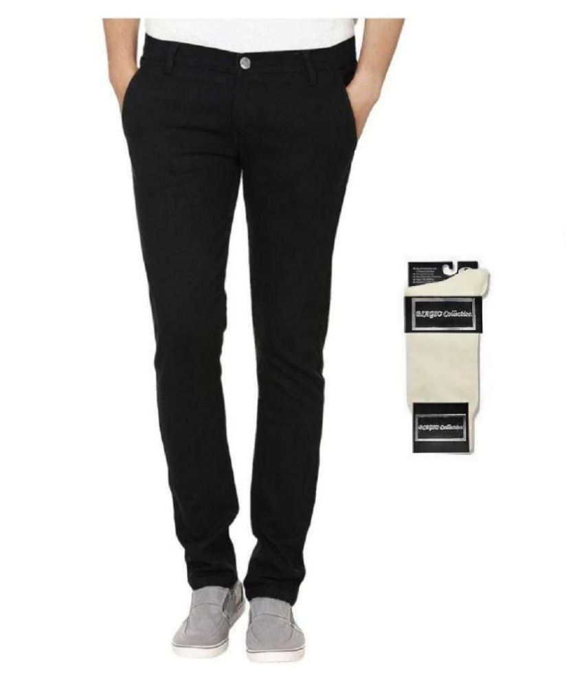 Urbano Fashion Black Slim Fit Stretch Jeans With Free 1 Pair Of White Socks