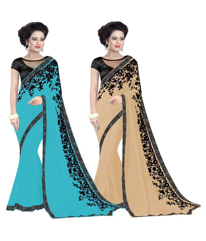 Lovely Look Multicoloured Woollen Saree Combos