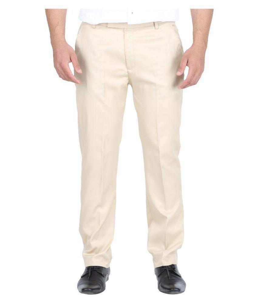 Singham Beige Regular Flat Trouser