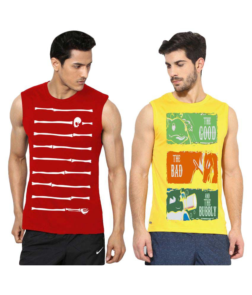 Ax7 Multi Polyester T-Shirt Pack of 2