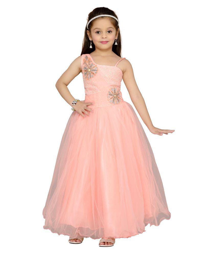Aarika Peach Net Ball Gown - Buy Aarika Peach Net Ball Gown Online ...