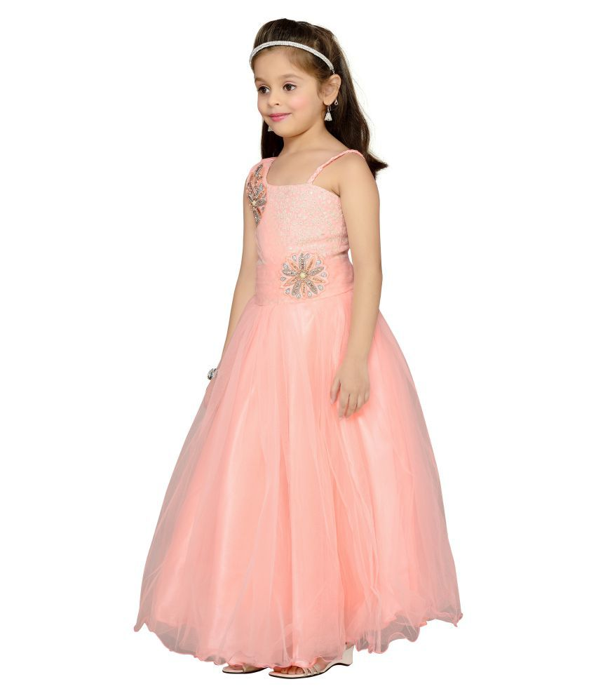 Aarika Peach Net Ball Gown - Buy Aarika Peach Net Ball Gown Online ...