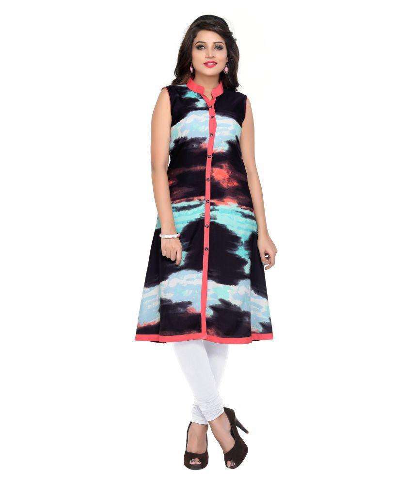 Fabviva Multicoloured Crepe Shirt style Kurti