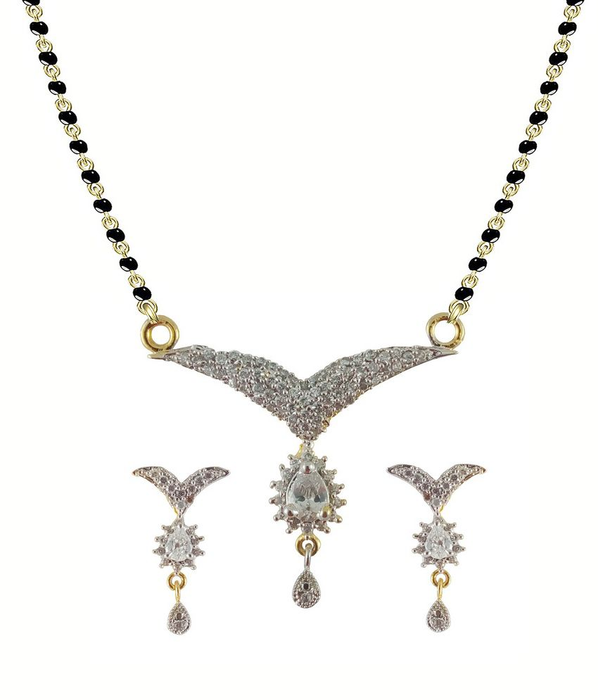 Rejewel white  22K Gold Plated Mangalsutra American Diamond Pendant Set For Women